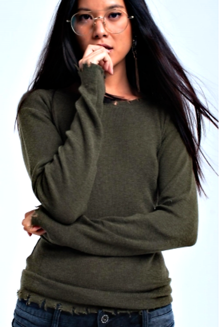 Khaki Green Crew Neck Sweater - Melissa Jean Boutique