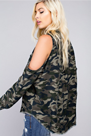 Soldier Up Camo Cold Shoulder Top