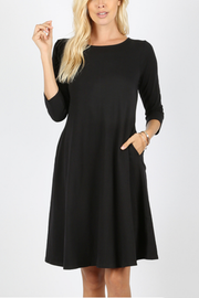 Molly Ann II Black Classic A-Line Dress with Pockets - Melissa Jean Boutique