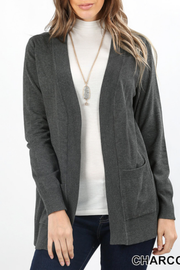 Charcoal Open Cardigan with Pockets