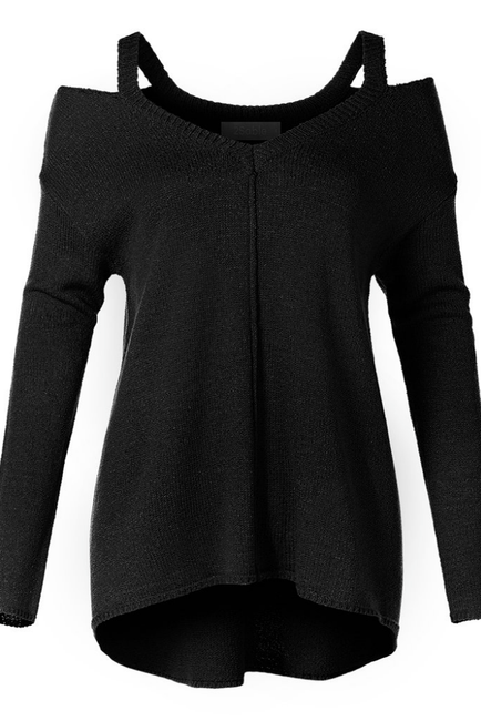 Black Cut Out Neck Tunic Sweater