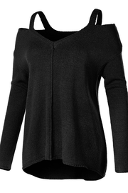 Black Cut Out Neck Tunic Sweater - Melissa Jean Boutique