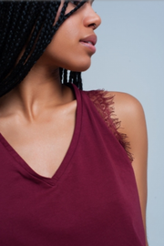 Red Wine Sleeveless Top with Lace Detail