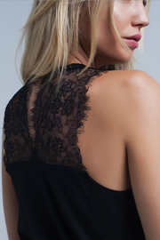 Black Sleeveless Top with Lace Detail - Melissa Jean Boutique