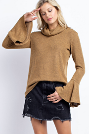 Make a Statement Camel Rib Turtleneck - Melissa Jean Boutique