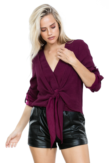 Plum Front Tie Top - Melissa Jean Boutique