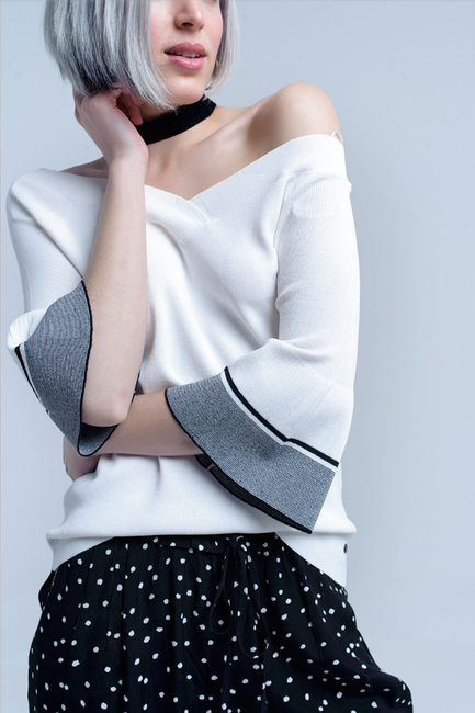 Vivian Sweater in White - Melissa Jean Boutique