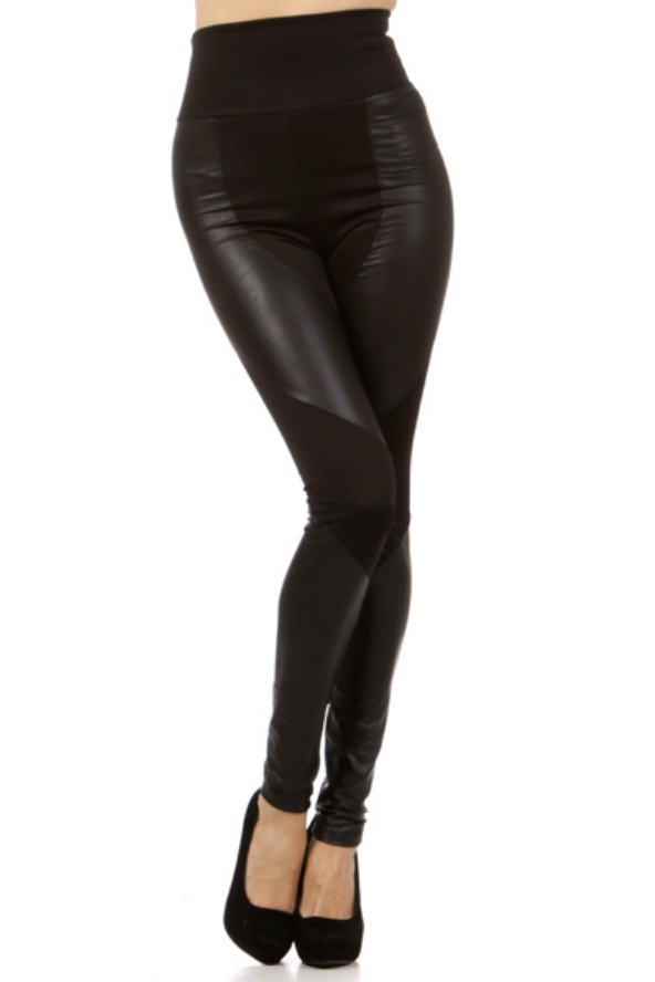 Faux Leather & Knit Leggings II - Melissa Jean Boutique