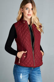 Burgundy Quilted Vest - Melissa Jean Boutique