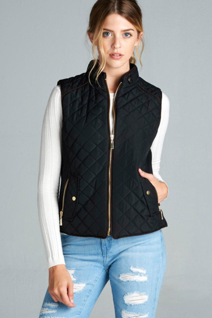 Black Quilted Vest - Melissa Jean Boutique