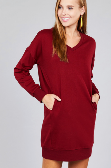 Burgundy French Terry Tunic Dress