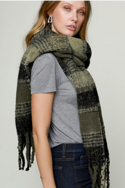 Olive Plaid Oblong Scarf - Melissa Jean Boutique