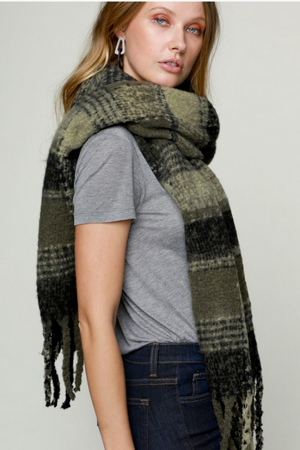 Olive Plaid Oblong Scarf
