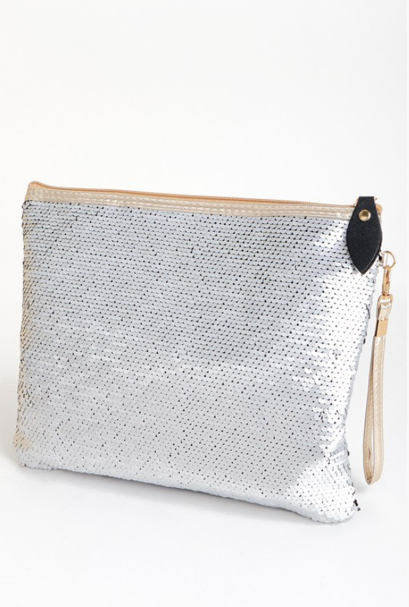 Black & Silver Sequin Clutch - Melissa Jean Boutique