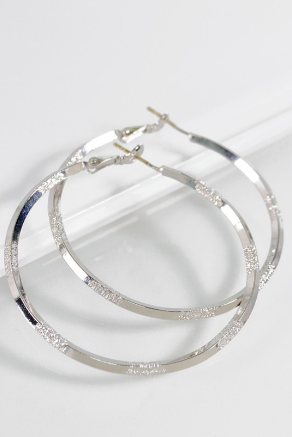 Textured Metal Hoop Earrings *In Silver or Gold - Melissa Jean Boutique