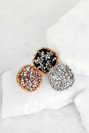 Round Glitter Stone Post Earrings *Available in Silver or Gold - Melissa Jean Boutique