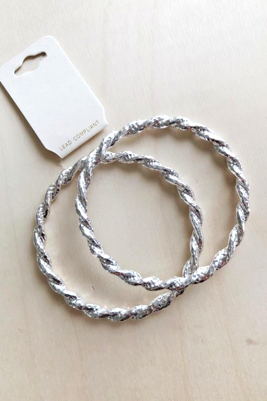 Silver Twist Bangle Bracelet - Melissa Jean Boutique