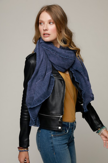 Navy Ruffle Accent Woven Scarf - Melissa Jean Boutique