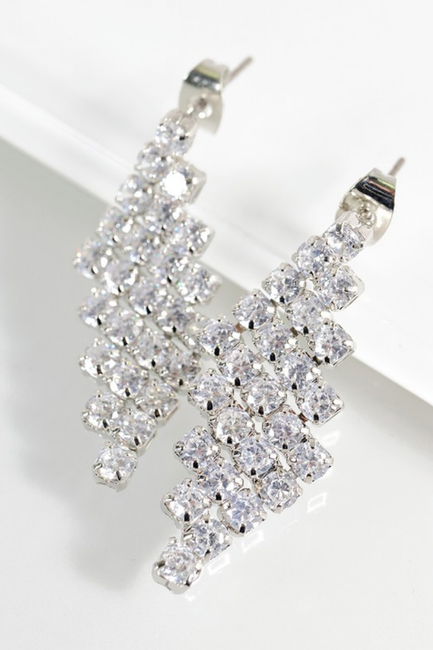 Cubic Zirconia Geometric Earrings - Melissa Jean Boutique