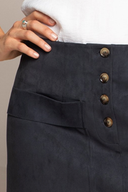 Navy Faux Sueded Skirt with Pockets