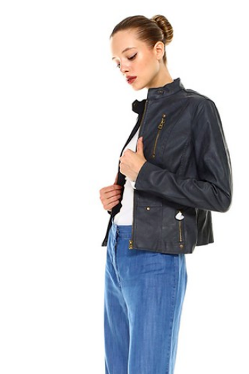 Let's Ride Charcoal Faux Leather Moto Jacket - Melissa Jean Boutique