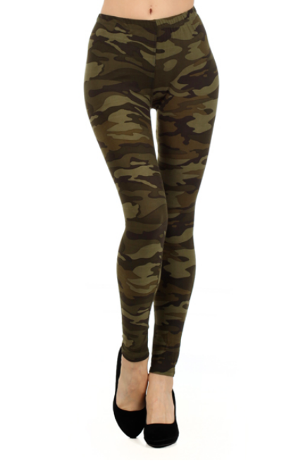 Camo High Waist Knit Leggings - Melissa Jean Boutique