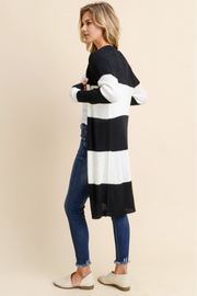 Keeping it Real Striped Cardigan Black and White