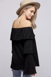 Call Me Later Charcoal Ruffle Off the Shoulder Top - Melissa Jean Boutique