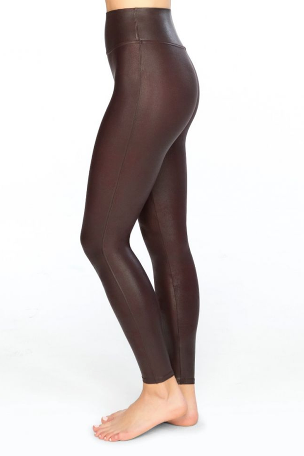 Spanx Wine Faux Leather Leggings - Melissa Jean Boutique