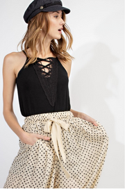 Laced Up Cami in Black - Melissa Jean Boutique