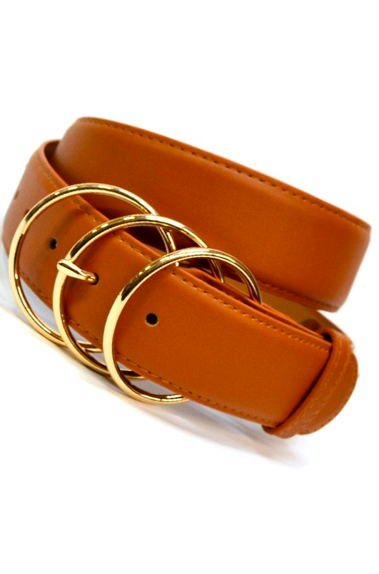 Triple Ring Belt in Dark Tan with Gold Accent - Melissa Jean Boutique