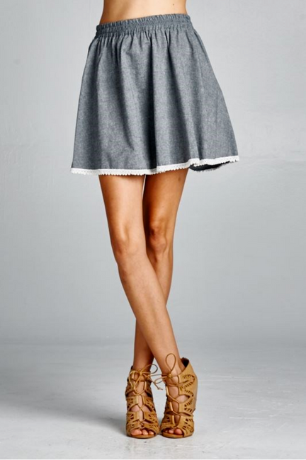 Heather Chambray Mini Skirt