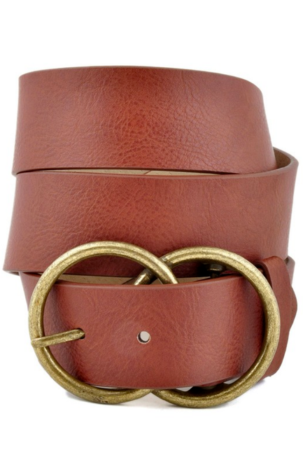 Vegan Leatherette Tan Jean Belt with Double Round Buckle - Melissa Jean Boutique