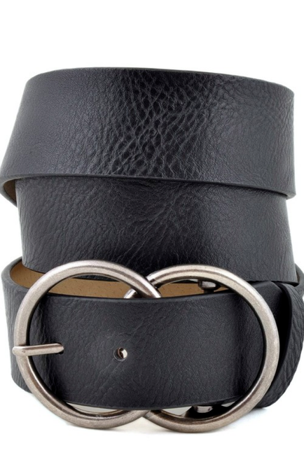 Vegan Leatherette Black Jean Belt with Double Round Buckle - Melissa Jean Boutique