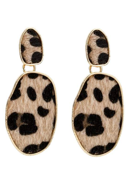 Faux Short Hair Leopard Drop Earrings - Melissa Jean Boutique