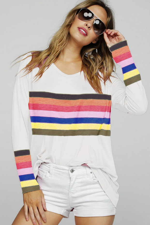 Rainbow Retro Striped Top - Melissa Jean Boutique