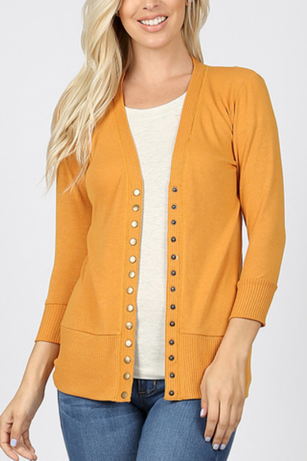 Ash Mustard Snap Button Cardigan 3/4 Sleeve - Melissa Jean Boutique
