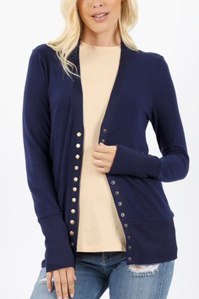 Navy Snap Button Cardigan - Melissa Jean Boutique