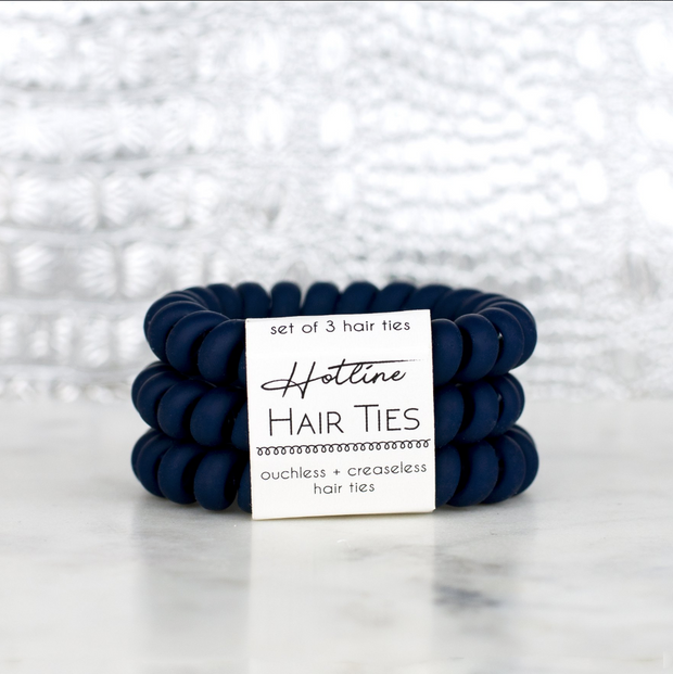 Hotline Hair Ties Navy Matte Set of 3 - Melissa Jean Boutique