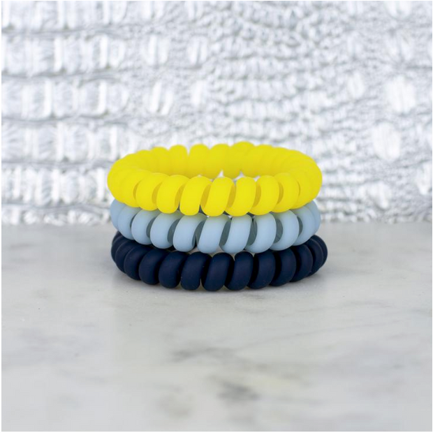 Hotline Hair Ties Blue Yellow Matte Set of 3 - Melissa Jean Boutique