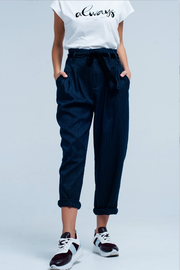 Navy Pinstripe High Waist Pants - Melissa Jean Boutique