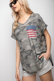 The Brave One Camo V-Neck Flag Top - Melissa Jean Boutique