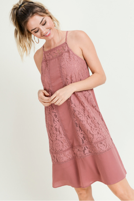 Mixed Lace Mauve Shift Dress - Melissa Jean Boutique
