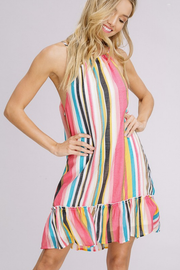 Tropical Stripe Halter Dress - Melissa Jean Boutique