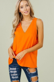Orange V-Neck Linen Tank - Melissa Jean Boutique
