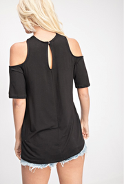 Cross My Heart Short Sleeve Black Top - Melissa Jean Boutique