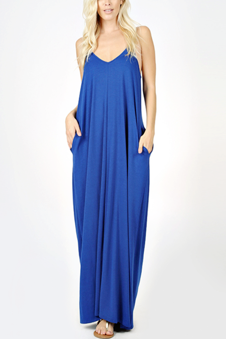 Blue Sapphire Maxi Pocket Cami Dress - Melissa Jean Boutique