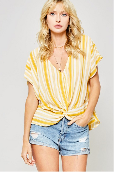 Sunny Side Up Yellow and White Stripe Top - Melissa Jean Boutique