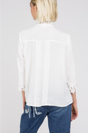 Remember Me Ivory Mock Neck Eyelet Blouse - Melissa Jean Boutique