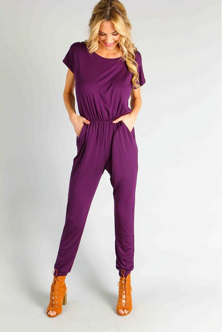 All or Nothing Plum Jumpsuit *Pre-Order - Melissa Jean Boutique
